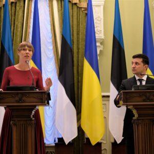 Президент Эстонии Керсти Кальюлайд и президент Украины Владимир Зеленский. Фото: Канцелярия Президента Эстонии.